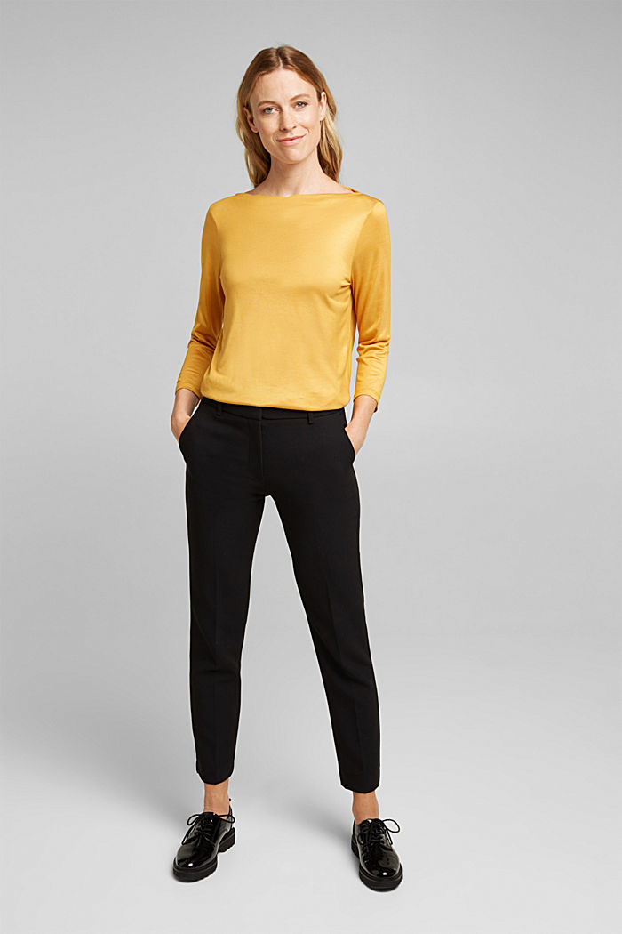 Softly shimmering long sleeve top with a bateau neckline, HONEY YELLOW, detail image number 1