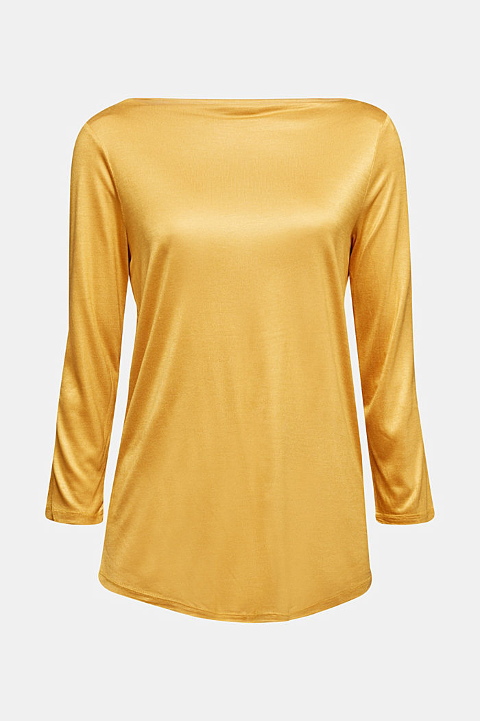 Softly shimmering long sleeve top with a bateau neckline, HONEY YELLOW, detail image number 6