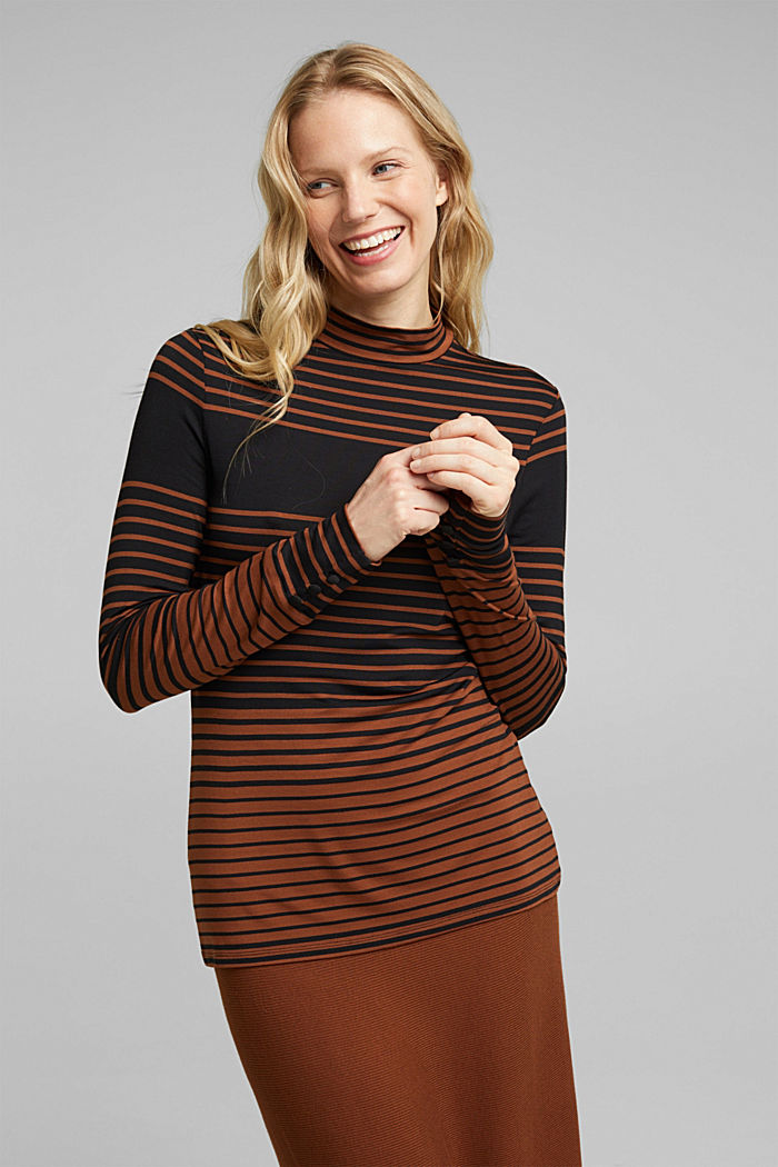 Long sleeve polo neck shirt with stripes, BLACK, detail image number 0