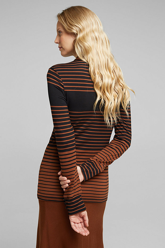 Long sleeve polo neck shirt with stripes, BLACK, detail image number 3