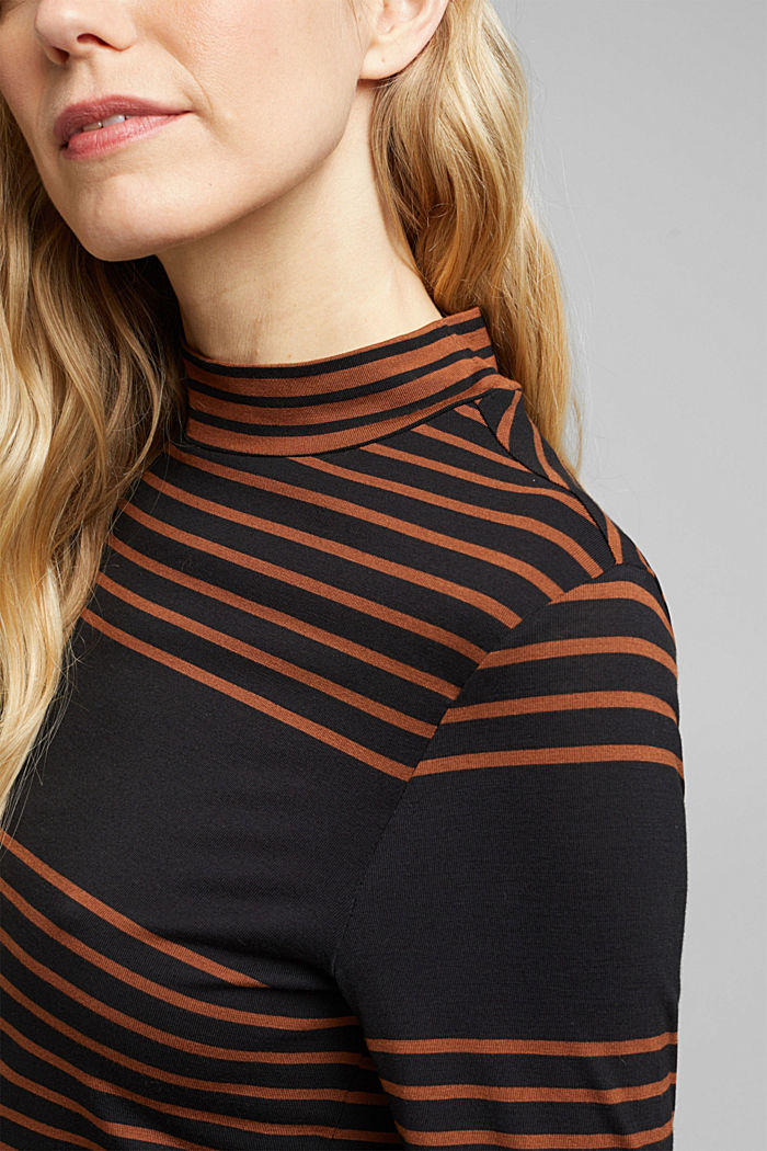 Long sleeve polo neck shirt with stripes, BLACK, detail image number 2