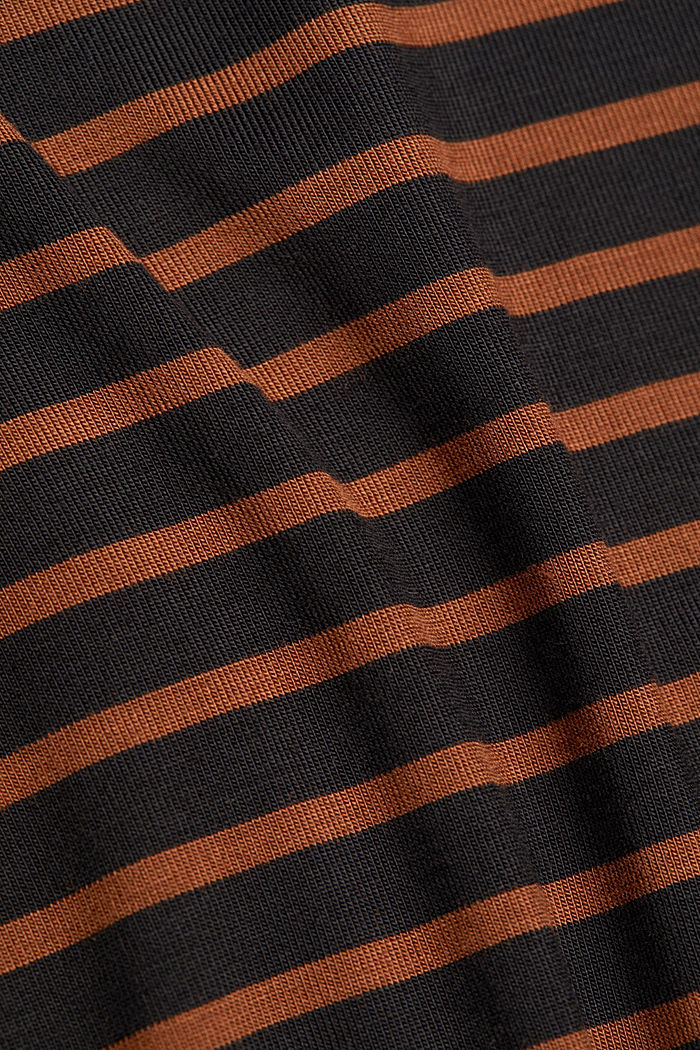 Long sleeve polo neck shirt with stripes, BLACK, detail image number 4
