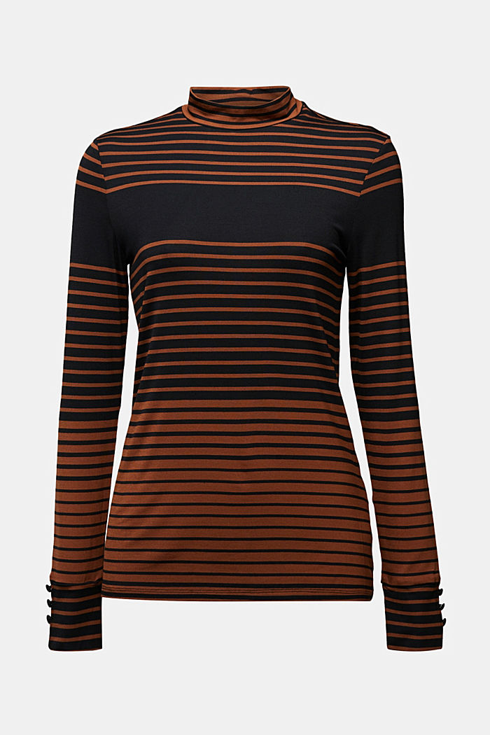 Long sleeve polo neck shirt with stripes, BLACK, detail image number 5