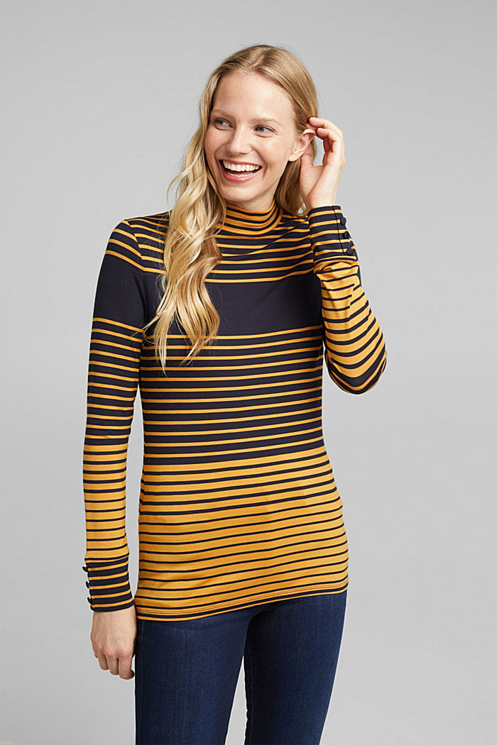 Long sleeve polo neck shirt with stripes, NAVY, detail image number 0