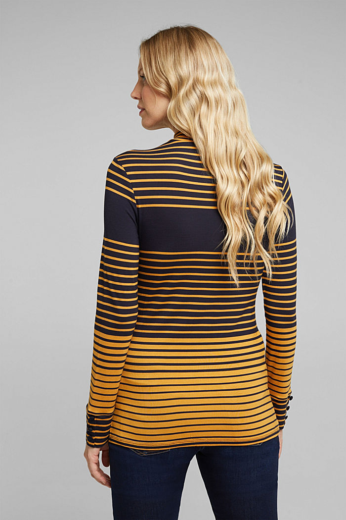 Long sleeve polo neck shirt with stripes, NAVY, detail image number 3
