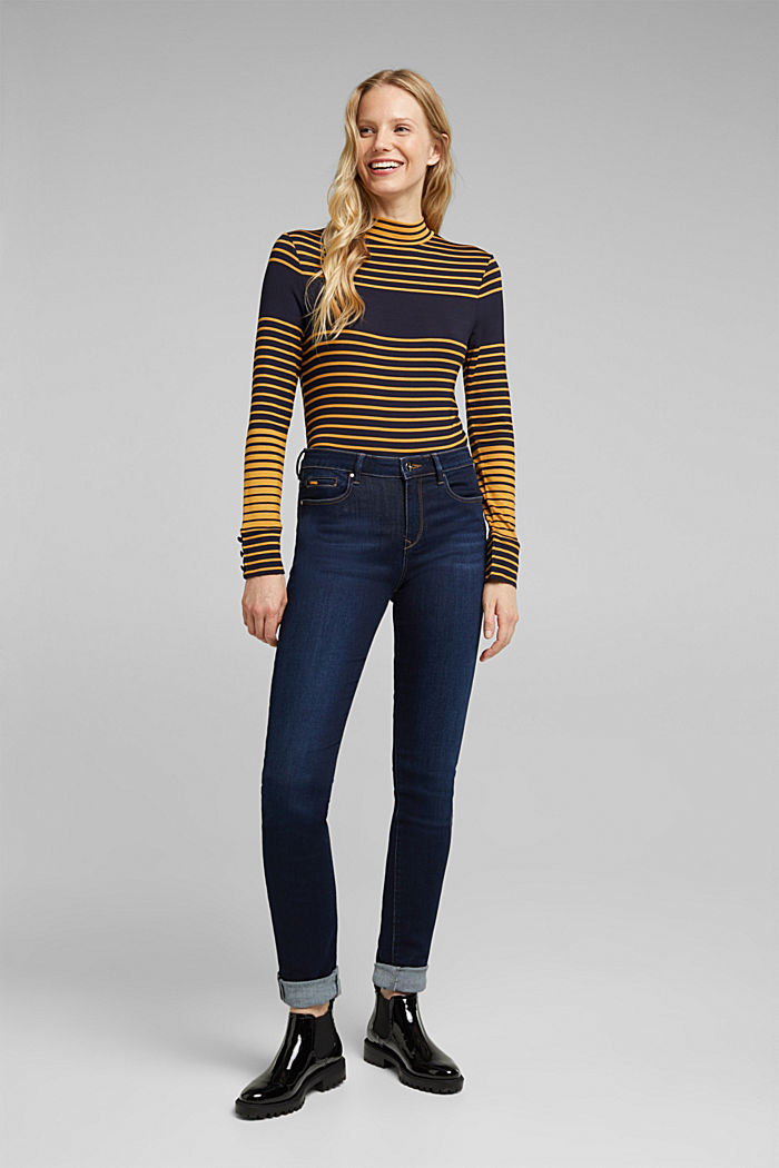 Long sleeve polo neck shirt with stripes, NAVY, detail image number 1