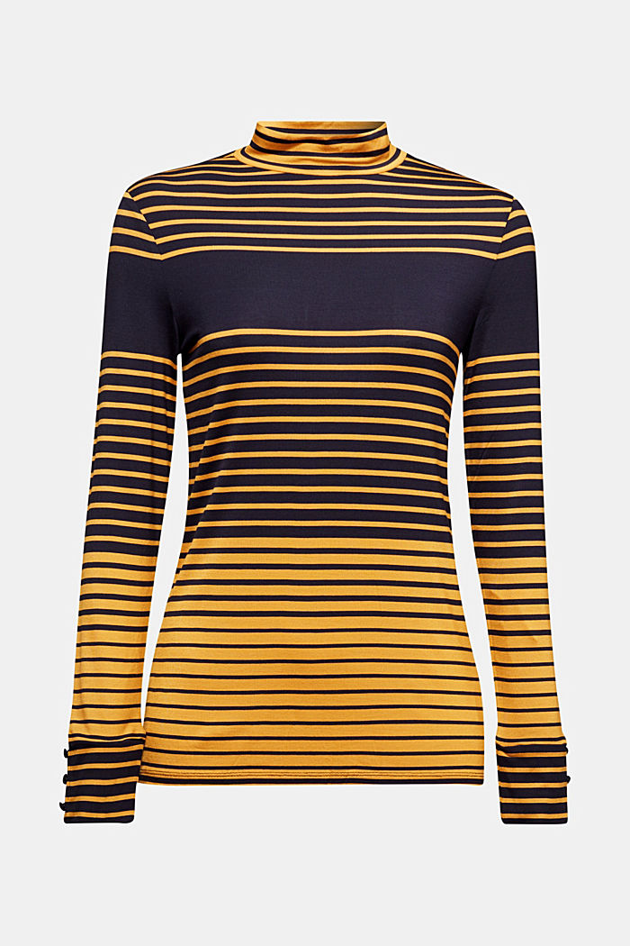 Long sleeve polo neck shirt with stripes, NAVY, detail image number 6