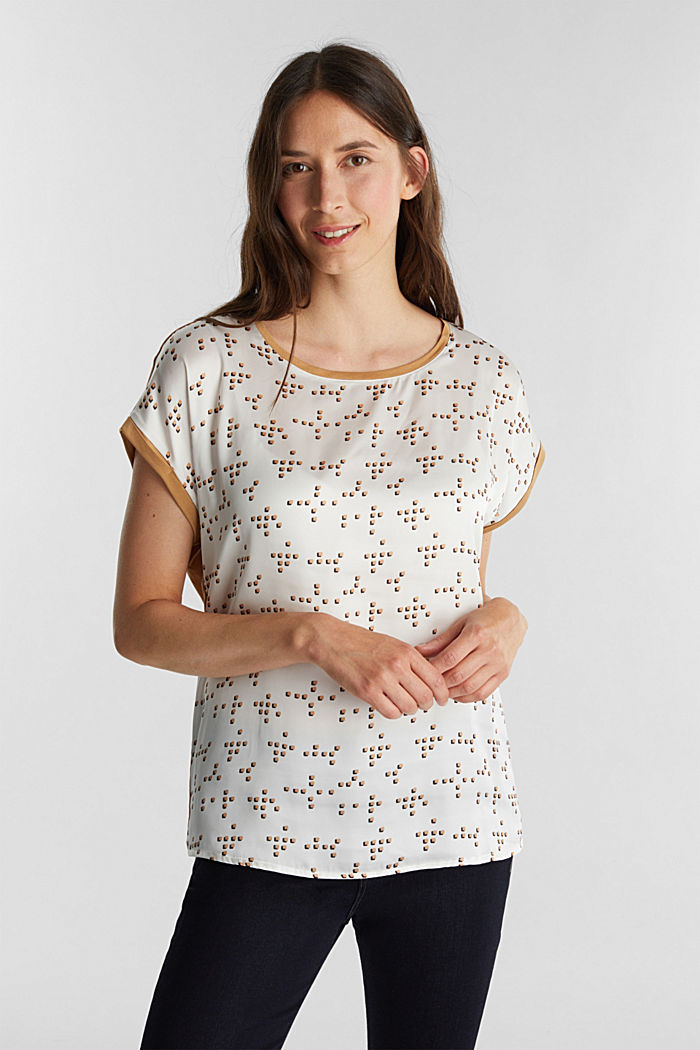 Mix of material T-shirt in a blouse style, OFF WHITE, detail image number 0
