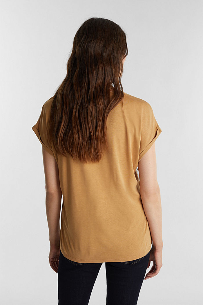 Mix of material T-shirt in a blouse style, OFF WHITE, detail image number 3