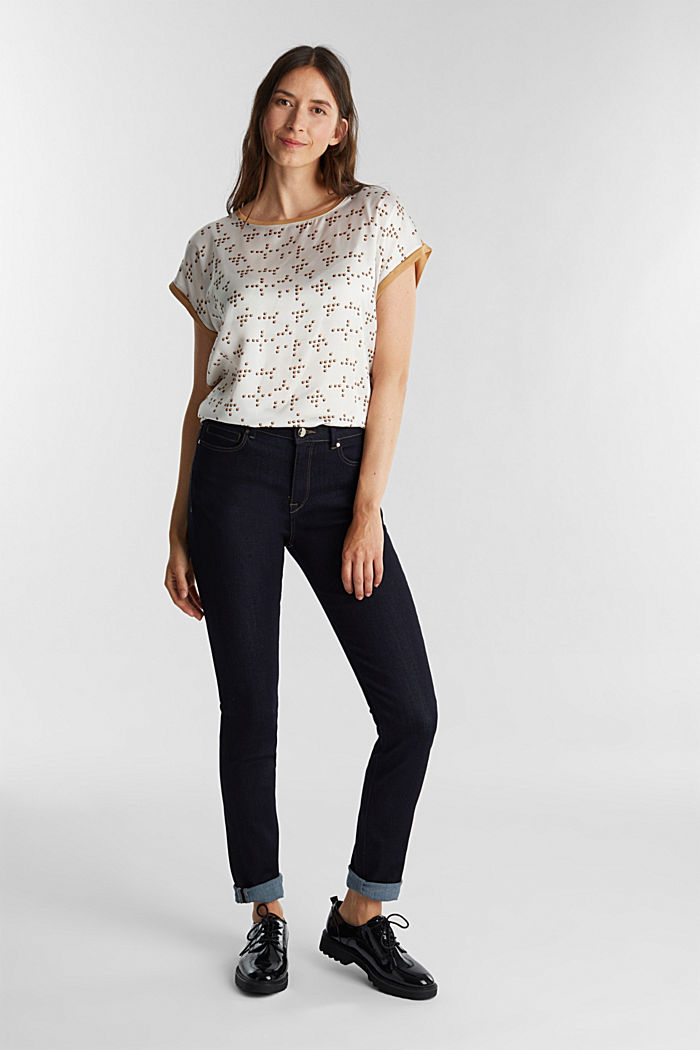 Mix of material T-shirt in a blouse style, OFF WHITE, detail image number 1