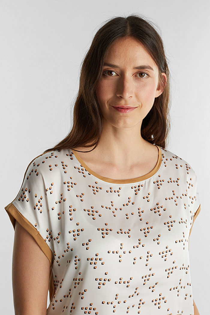 Mix of material T-shirt in a blouse style, OFF WHITE, detail image number 5