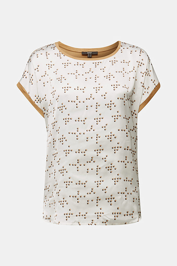 Mix of material T-shirt in a blouse style, OFF WHITE, detail image number 6