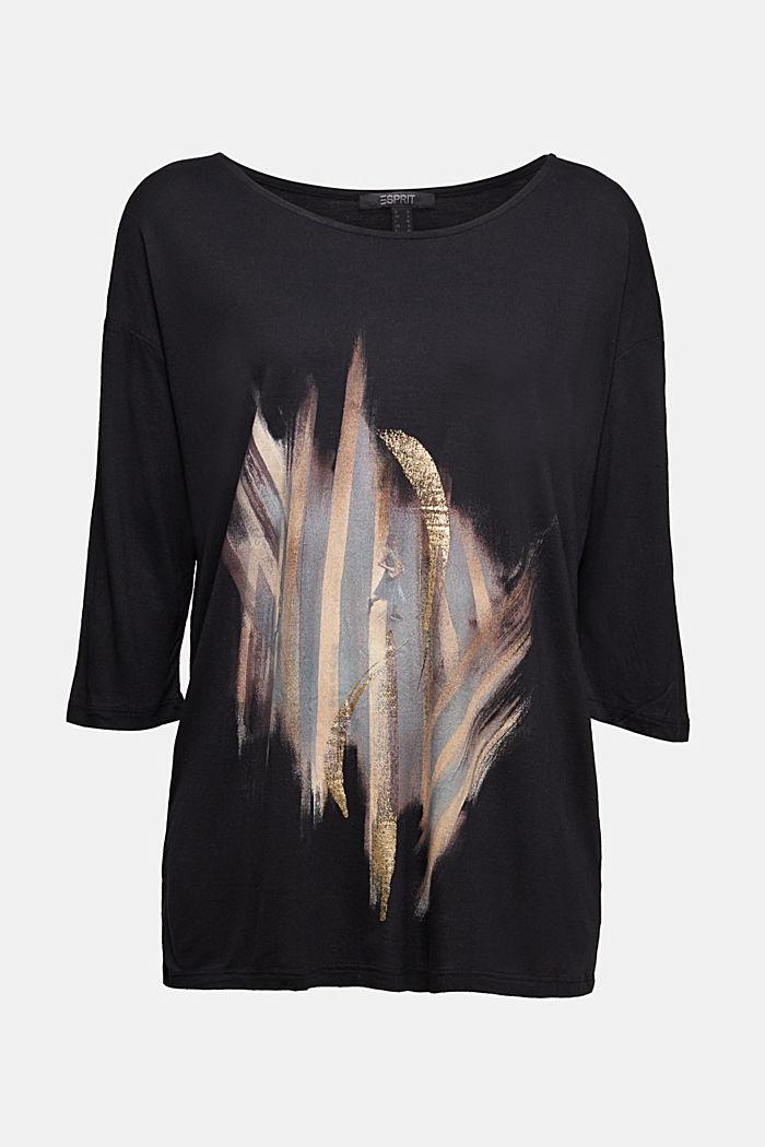 Long sleeve top with an artwork print, LENZING™ ECOVERO™