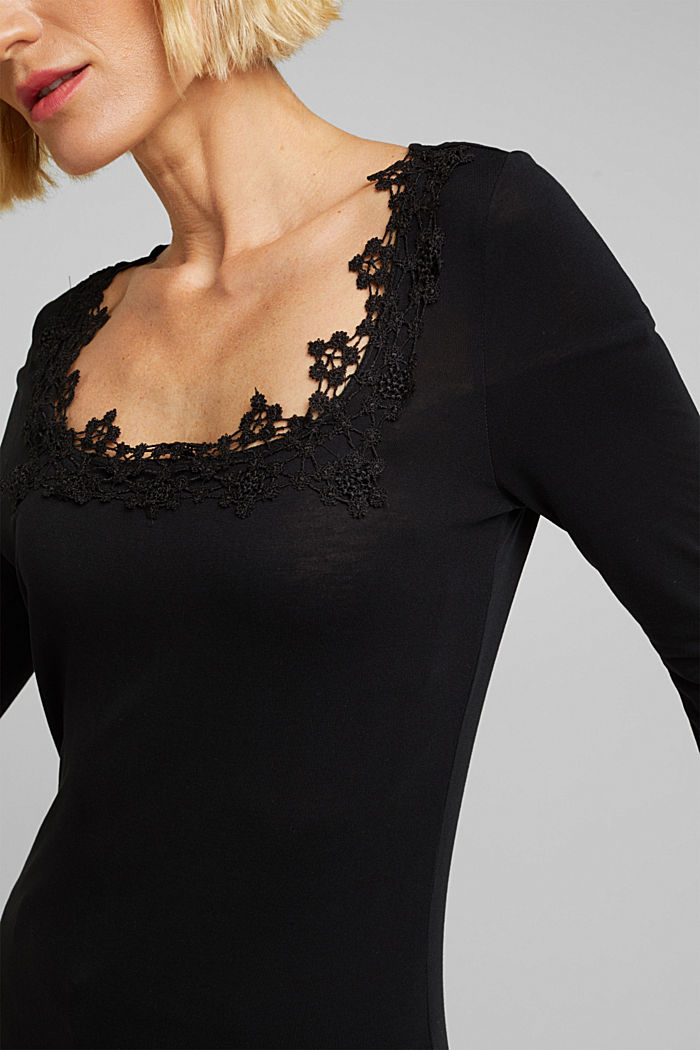 Long sleeve top made of LENZING™ ECOVERO™, BLACK, detail image number 2