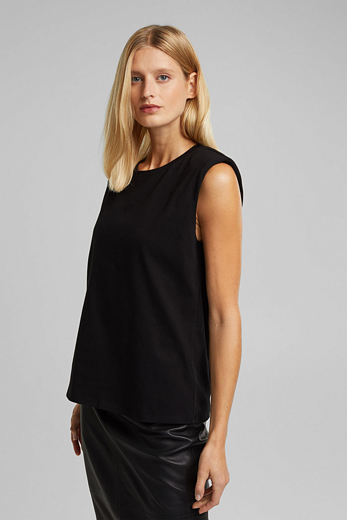 Organic cotton top with shoulder pads