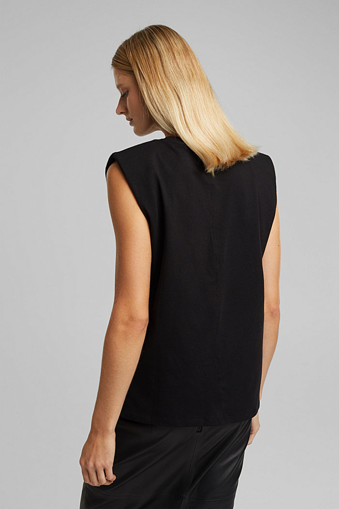 Organic cotton top with shoulder pads, BLACK, detail image number 3