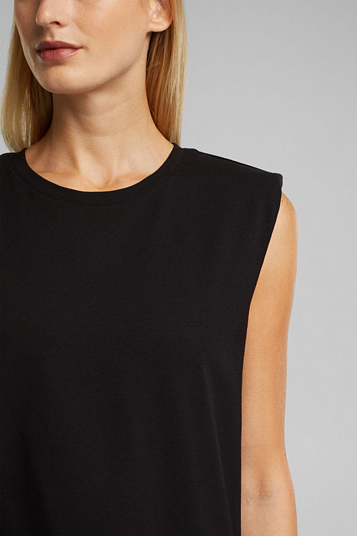 Organic cotton top with shoulder pads, BLACK, detail image number 2