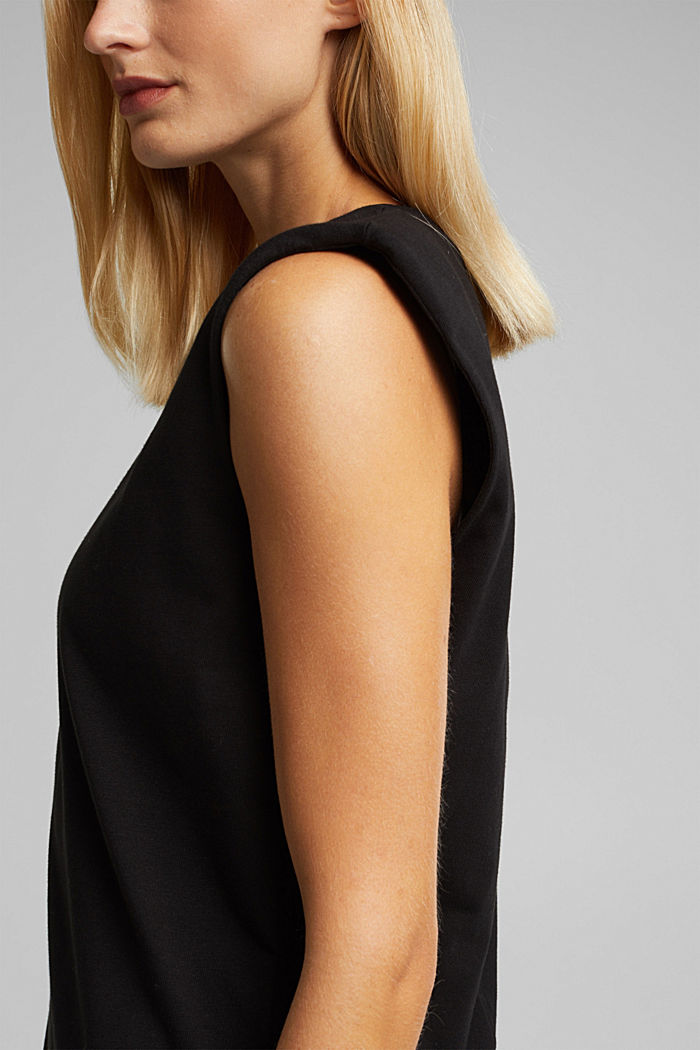 Organic cotton top with shoulder pads, BLACK, detail image number 5