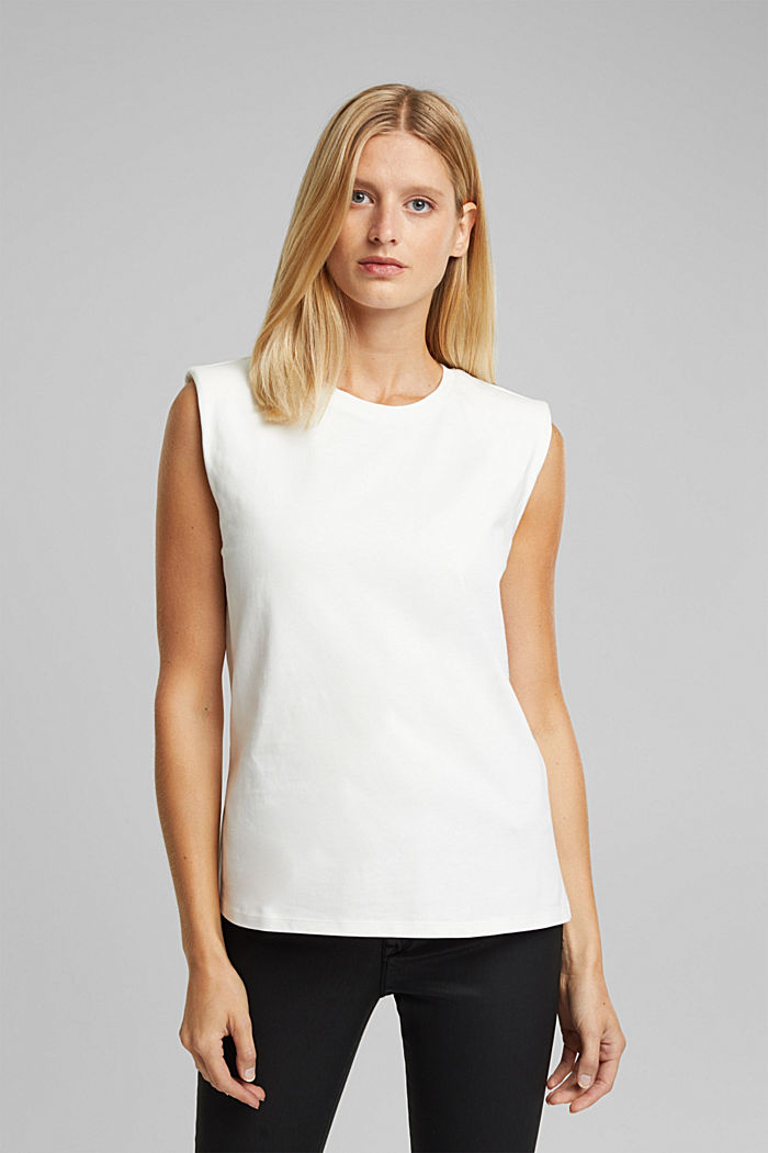 Organic cotton top with shoulder pads, WHITE, detail image number 0