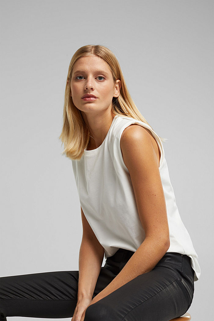 Organic cotton top with shoulder pads, WHITE, detail image number 6