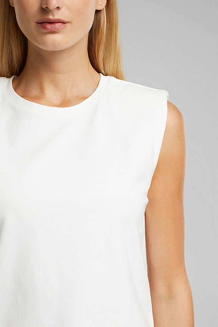 Organic cotton top with shoulder pads, WHITE, detail image number 2