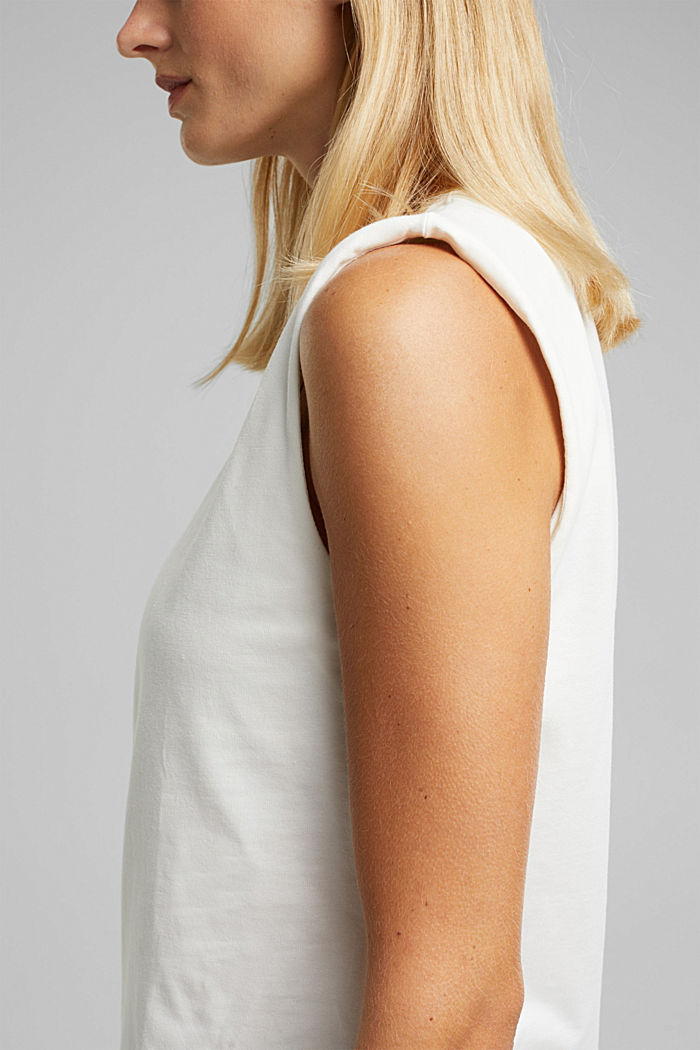 Organic cotton top with shoulder pads, WHITE, detail image number 5