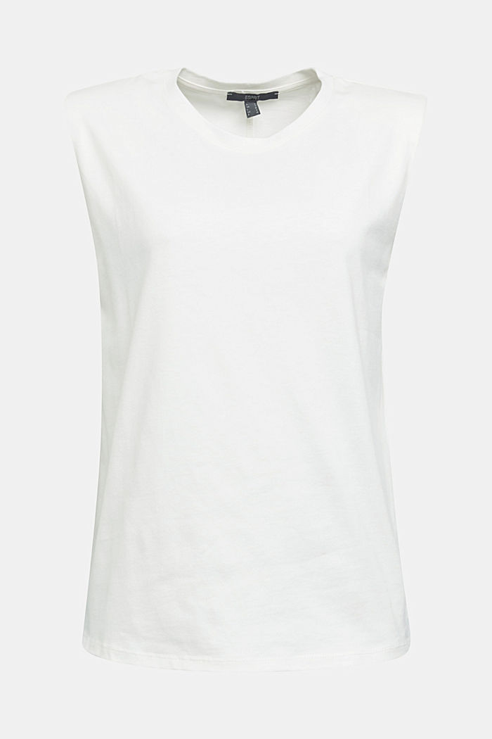 Organic cotton top with shoulder pads, WHITE, detail image number 7
