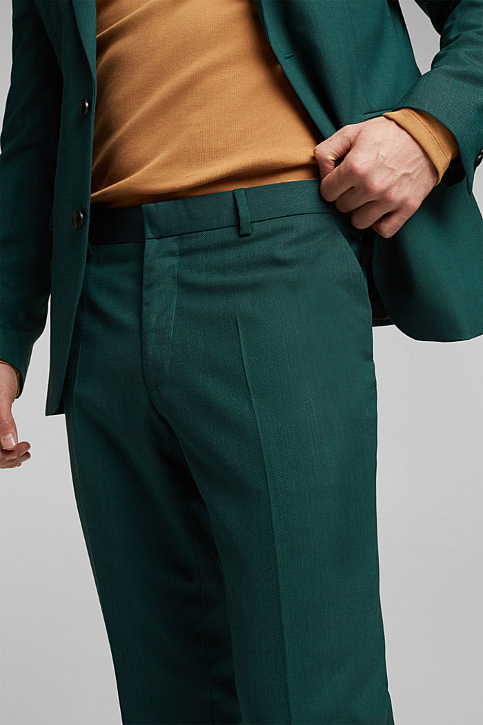 WOOL STRUCTURE Mix + Match trousers, BOTTLE GREEN, detail image number 3