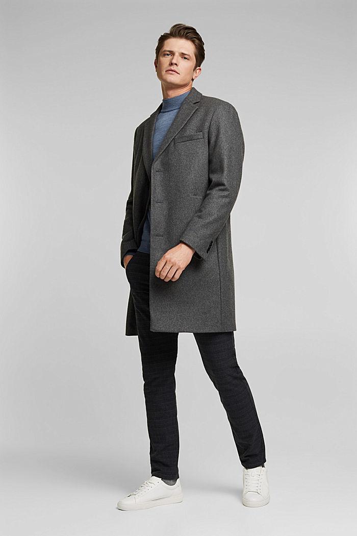 Van een scheerwolmix: hoogwaardige mantel, GREY, detail image number 1