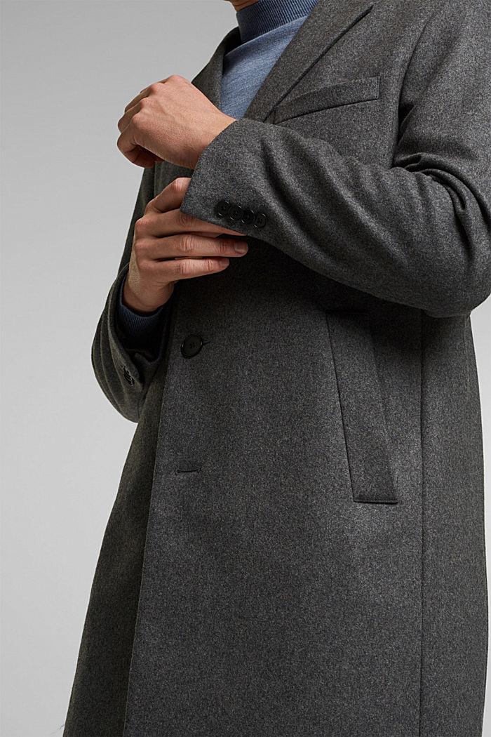 Van een scheerwolmix: hoogwaardige mantel, GREY, detail image number 2
