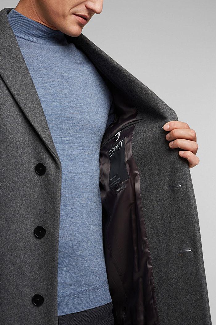 Van een scheerwolmix: hoogwaardige mantel, GREY, detail image number 7