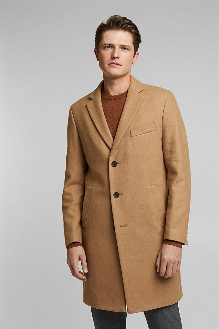 Premium coat made of blended new wool, CAMEL, detail image number 0