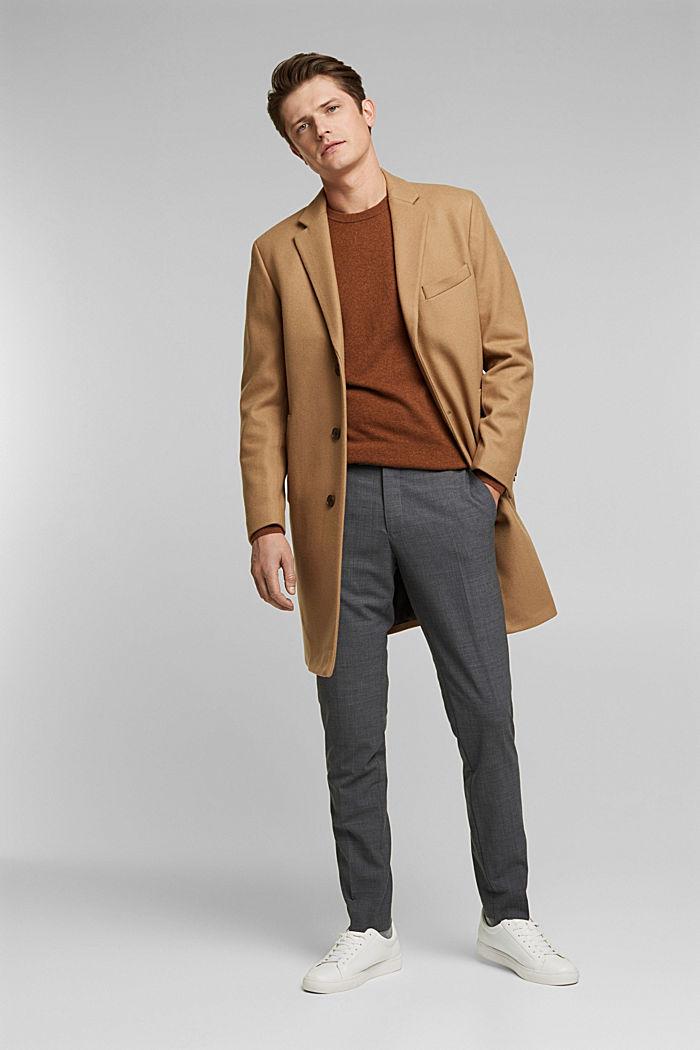 Premium coat made of blended new wool, CAMEL, detail image number 1