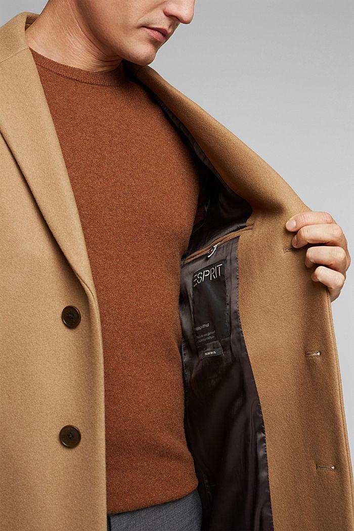 Premium coat made of blended new wool, CAMEL, detail image number 6