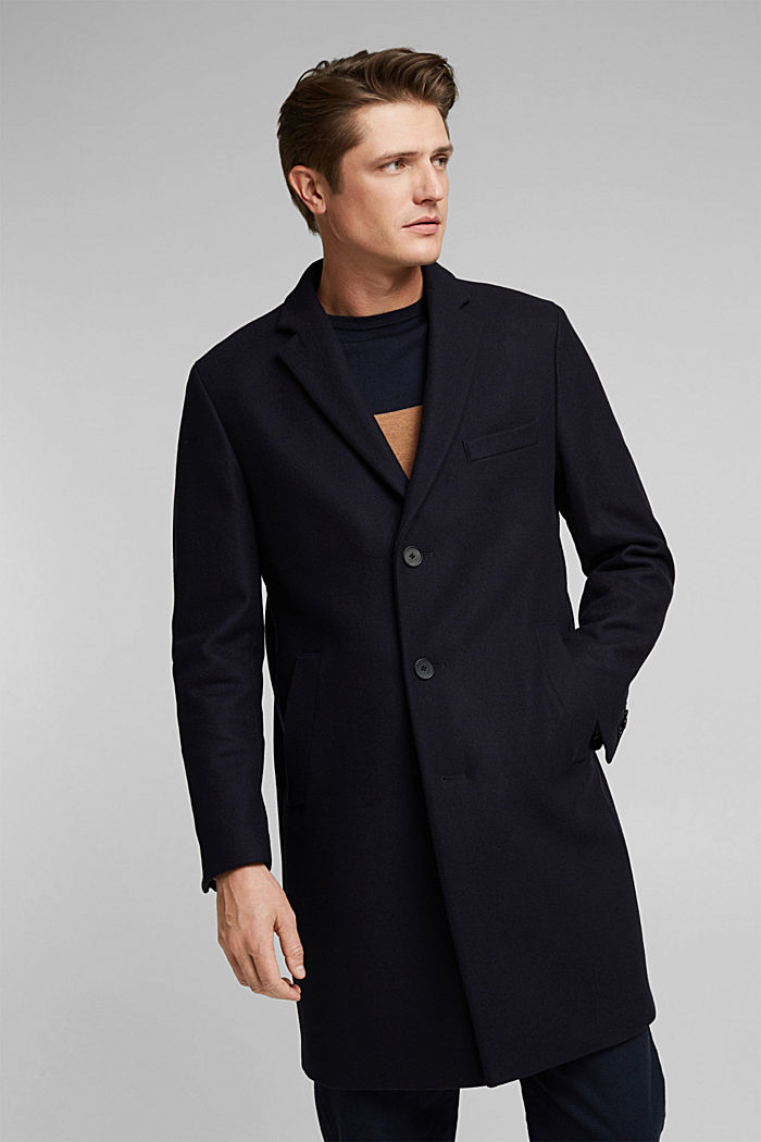 Premium coat made of blended new wool, DARK BLUE, detail image number 0