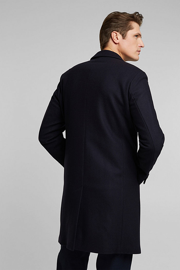 Premium coat made of blended new wool, DARK BLUE, detail image number 3