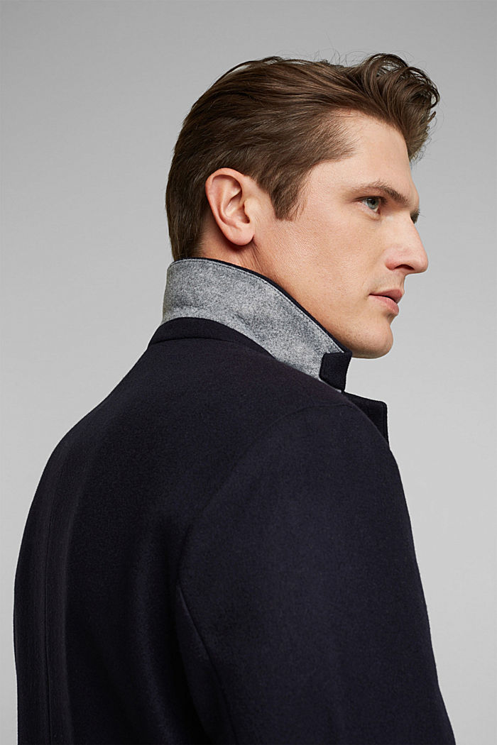 Premium coat made of blended new wool, DARK BLUE, detail image number 5