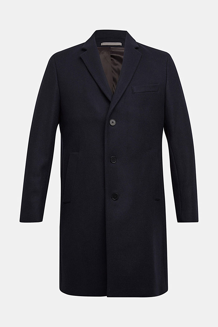 Premium coat made of blended new wool, DARK BLUE, detail image number 7