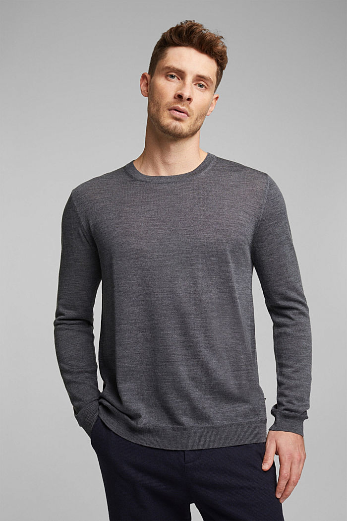 Made of 100% merino wool: crewneck jumper, DARK GREY, detail image number 0