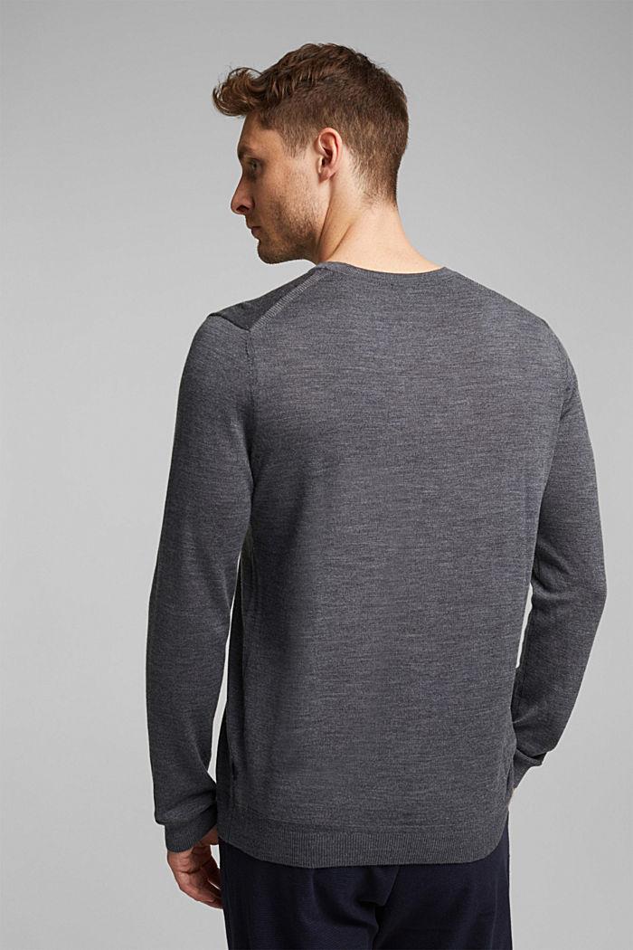 Made of 100% merino wool: crewneck jumper, DARK GREY, detail image number 3