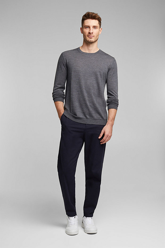 Made of 100% merino wool: crewneck jumper, DARK GREY, detail image number 1
