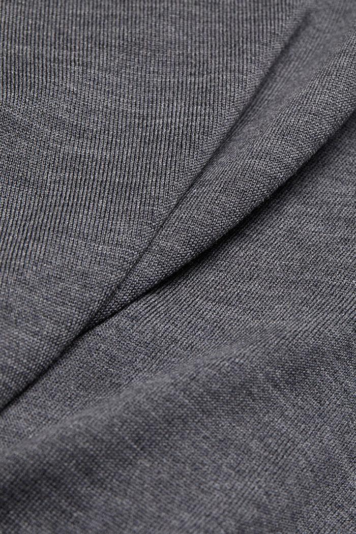 Made of 100% merino wool: crewneck jumper, DARK GREY, detail image number 4