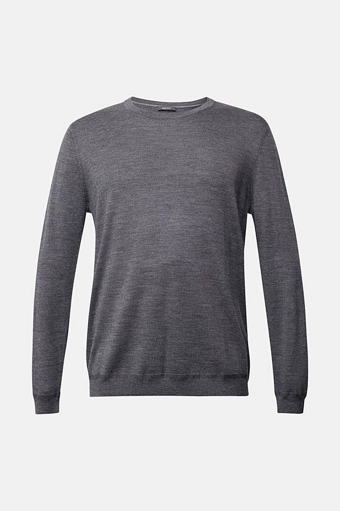 Made of 100% merino wool: crewneck jumper, DARK GREY, detail image number 6