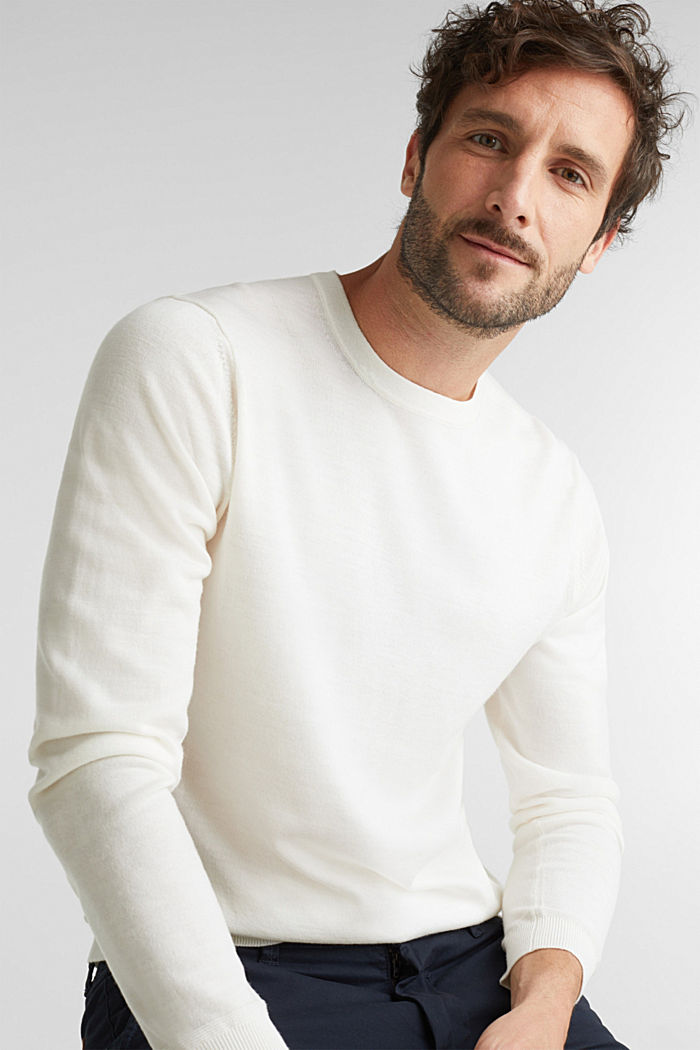 Made of 100% merino wool: crewneck jumper, OFF WHITE, detail image number 0