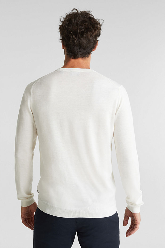 Made of 100% merino wool: crewneck jumper, OFF WHITE, detail image number 3