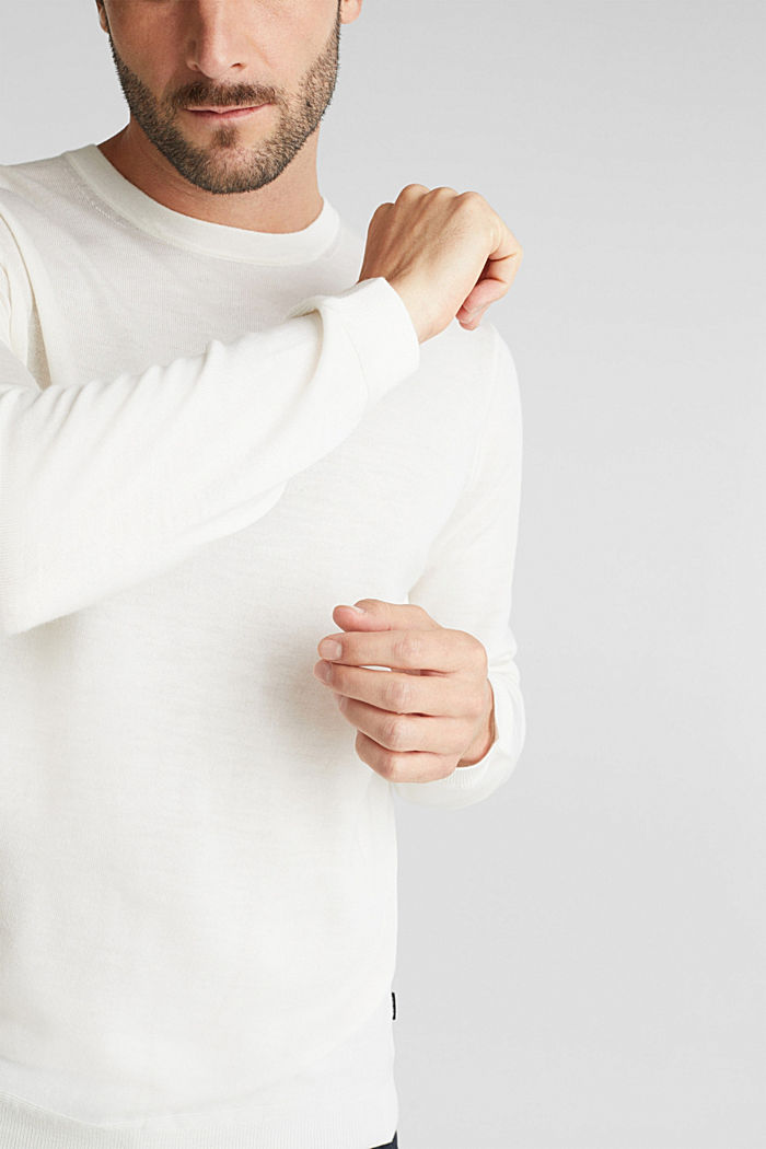 Made of 100% merino wool: crewneck jumper, OFF WHITE, detail image number 2