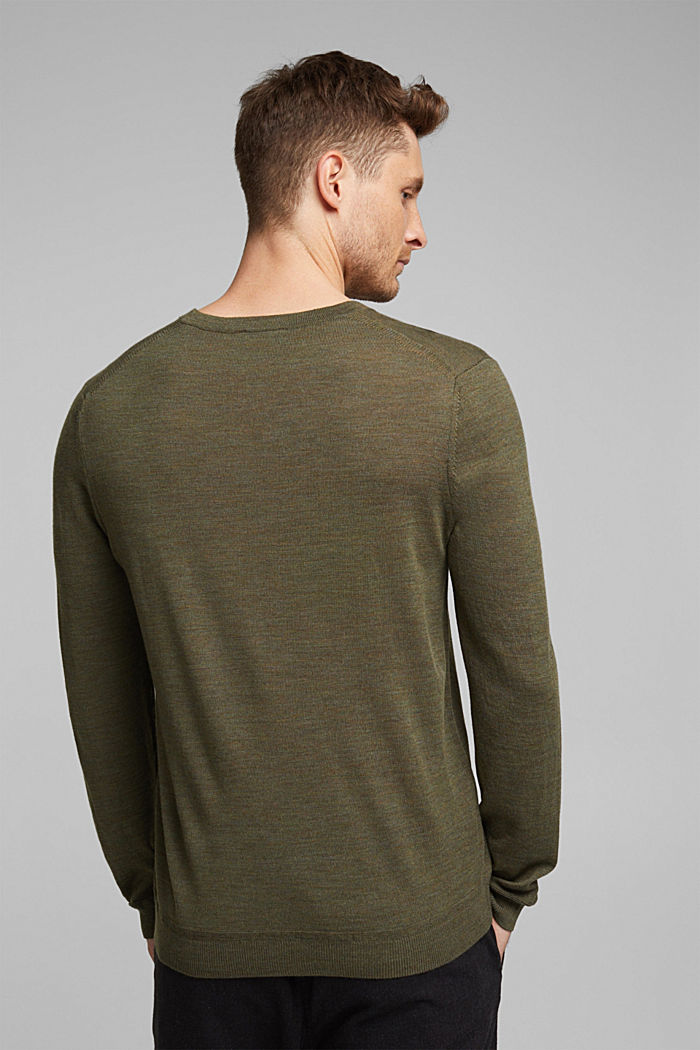 Made of 100% merino wool: crewneck jumper, KHAKI GREEN, detail image number 3