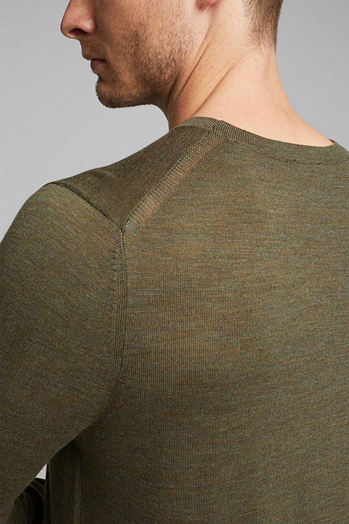 Made of 100% merino wool: crewneck jumper, KHAKI GREEN, detail image number 2
