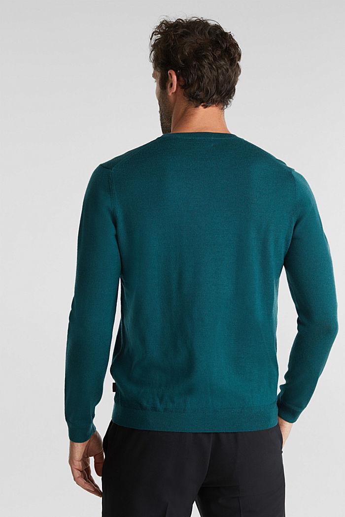 Van 100% merinoswol: trui met ronde hals, BOTTLE GREEN, detail image number 3