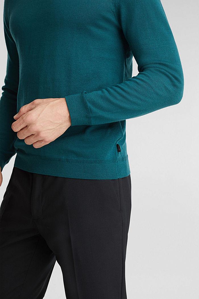 Van 100% merinoswol: trui met ronde hals, BOTTLE GREEN, detail image number 2